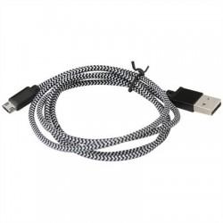 PLATINET CABLE TELA microUSB-USB 1M CAJA NEGRO