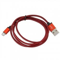 PLATINET CABLE TELA microUSB-USB 1M CAJA ROJO