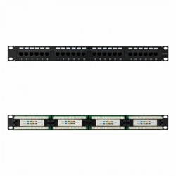 "PANEL PARCHEO 24P CAT.5E UTP 19"" 1U DUAL IDC NEGRO"